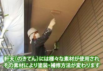 軒天(のきてん)には様々な素材が使用されその素材により塗装・補修方法が変わります