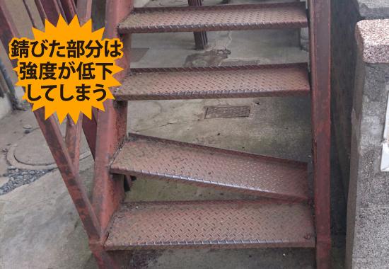 錆びて強度が低下した金属製の階段