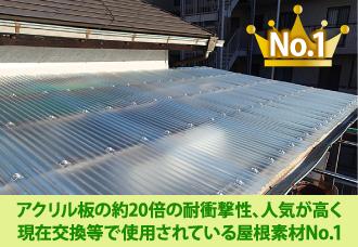 アクリル板の約20倍の耐衝撃性、人気が高く現在交換等で使用されている屋根素材No1