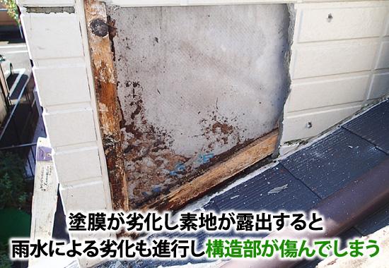 塗膜の劣化は雨水によって構造部が傷んでしまう