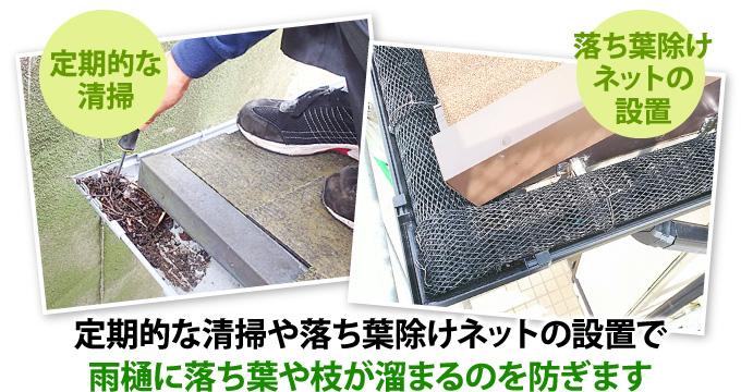 定期的な清掃や落ち葉除けネットの設置で雨樋の詰まりを防ぎます