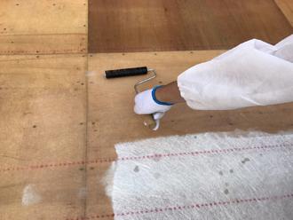 ガラス繊維と樹脂の塗布