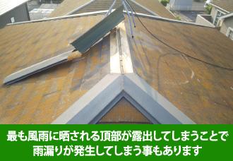 棟板金は頂部分なので最も風に晒される頂部が露出してしまうことで雨漏りが発生してしまうこともある