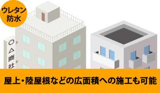 ウレタン防水は屋上・陸屋根などの広面積への施工も可能