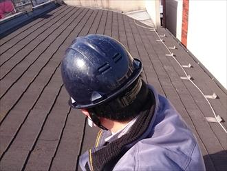 塗装の前に割れたスレートの補修工事|川崎市多摩区