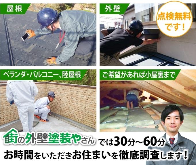 街の外壁塗装やさんでは30分~60分お時間をいただきお住まいを徹底調査します!