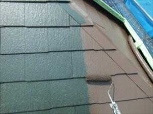 幸区-屋根塗装、中塗り