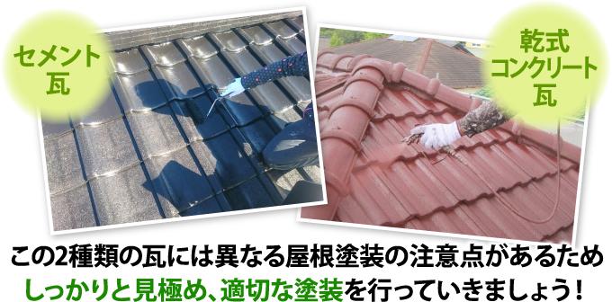 2種類の瓦の異なる屋根塗装の注意点