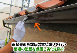 数回の重ね塗りを行い雨樋の塗膜を保護し劣化を防ぐ