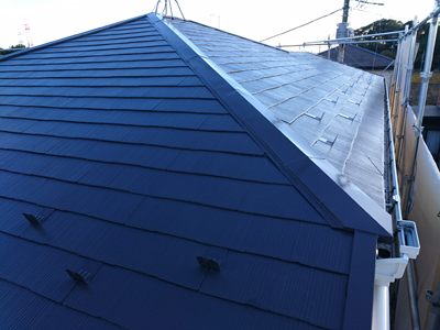 川崎市中原区井田にて外壁塗装はパーフェクトトップ、屋根塗装はサーモアイSiで14年ぶりの塗装メンテナンス、施工後写真