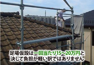 足場仮設は一回当たり15~20万円