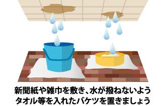 タオル等を入れたバケツを置き水がはねないようしましょう