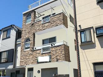 横浜市栄区元大橋にてモルタル外壁の調査、外壁塗装の色選びの参考にカラーシミュレーションを作成いたしました