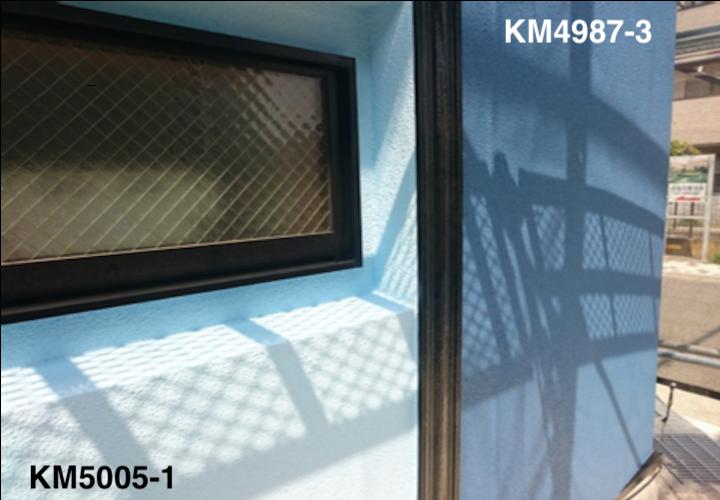 中郡二宮町富士見が丘にて、モルタル外壁をエラストコートを2色使ったツートンカラーで塗装