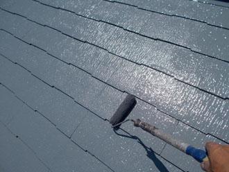 川崎市 屋根塗装 アレスクール 上塗り