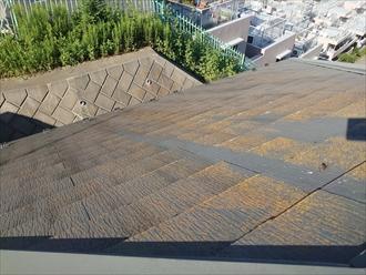 横浜市都筑区川和台にて高台に建てられたお住まいのスレート屋根を調査、築10年程でも塗膜が劣化し苔が生えてスレートが傷んでしまう事が多い為定期的にメンテナンスを行いましょう