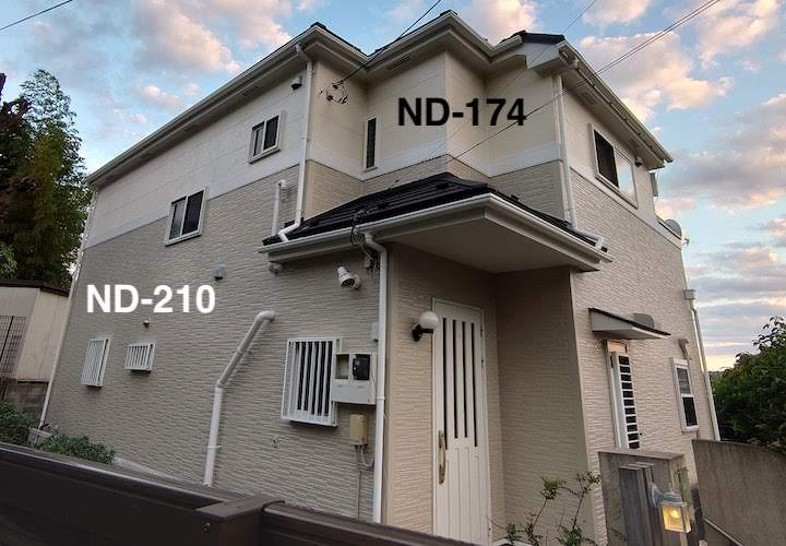 逗子市沼間にて、パーフェクトトップ 「ND-210」と「ND-174」で窯業系サイディングをツートンカラーで塗装