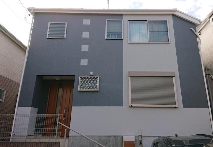 横浜市磯子区栗木にて、モルタル外壁を人気の塗料パーフェクトトップでツートンカラーに仕上げました