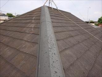 表面に苔が多く生えており黄色くなっているスレート屋根の様子