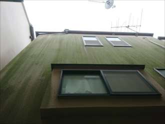 横浜市旭区上川井にて築18年のモルタル外壁を点検、苔が生えて緑色に染まっていました