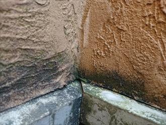 横浜市戸塚区品濃町にて外壁調査、凹凸のあるモルタル外壁は汚れが残り傷みやすい為早めに塗装でのメンテナンスをしておきましょう