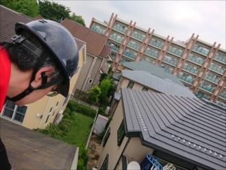 化粧スレート屋根点検時の様子