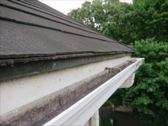 梯子を架けて屋根にあがる直前で撮影した軒先の様子