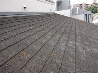 横浜市旭区二俣川にて築25年経った招き屋根に葺かれた化粧スレート屋根は苔とカビに覆われ塗装が必要な状態でした