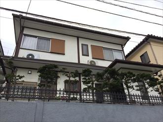 湘南地区藤沢市の築28年のお宅でモルタル壁塗り替え調査