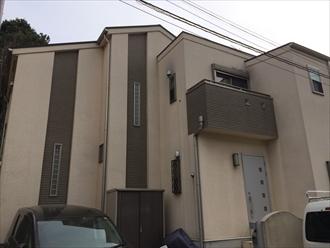 既存のタイルに合わせた色で外壁をイメージチェンジ|横浜市瀬谷区、施工前写真