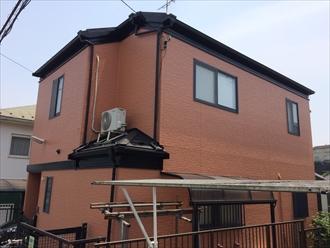 横浜市港南区日限山で窯業系サイディングのメンテナンス、プレミアムシリコン(AC-2225)を使用した外壁塗装で綺麗なオレンジ色、施工後写真