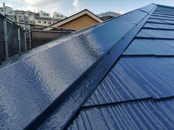 屋根塗装完成(ナスコン色)