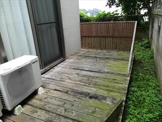 横浜市中区本郷町にてウッドデッキ塗装の為の事前調査