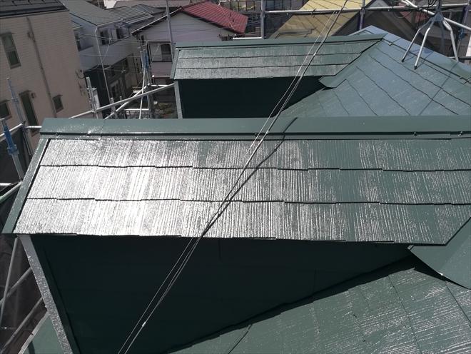 日本ペイントファインパーフェクトベスト、モスグリーンによる屋根塗装工事完成