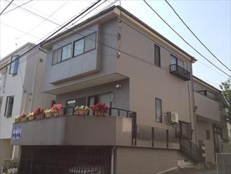 藤沢市築18年モルタル壁とタイル壁の外壁塗装とスレート屋根塗装、施工前写真