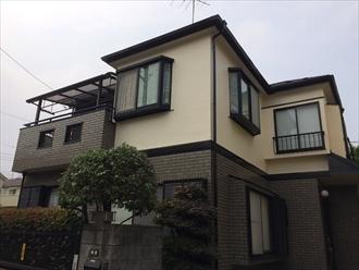 横浜市鶴見区上末吉でモルタルとタイルのメンテナンス、プレミアムシリコン(SR-178)とファイングラシィSiで外壁塗装、施工後写真