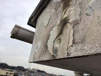 横浜市中区で外壁塗装の事前調査、破風板が劣化しすぎると塗装は困難です