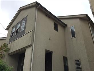 亀裂を補修しながらパーフェクトトップで外壁塗装|横浜市磯子区、施工前写真