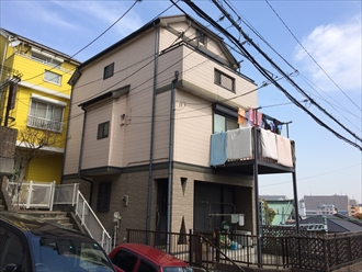 大和市築14年の屋根外壁塗装ファインシリコンフレッシュとサーモアイ4F、施工前写真