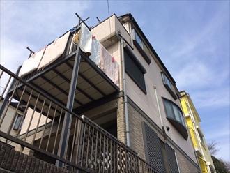 大和市築14年サイディング3階建ての住宅を塗り替え調査