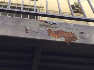 相模原市緑区アパートの鉄骨通路は塗装の前に鉄骨補強工事