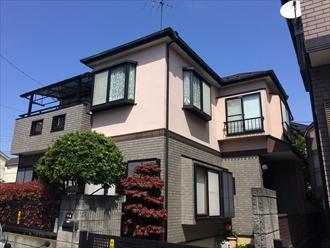 横浜市鶴見区上末吉でモルタルとタイルのメンテナンス、プレミアムシリコン(SR-178)とファイングラシィSiで外壁塗装、施工前写真