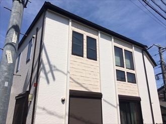 横浜市戸塚区上倉田町で窯業系サイディングの外壁を、プレミアムシリコン(SR-408,SR-410)で新築のような輝きになりました、施工後写真