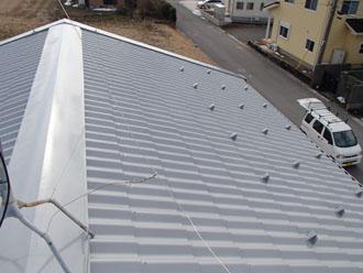 金属屋根 上塗り後