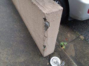 車をぶつけてしまったジョリパッドの塀