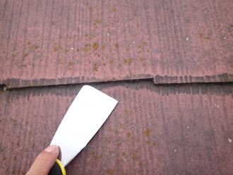 伊勢原市田中でスレート屋根塗装の事前調査、縁切り不足で雨漏りする可能性あり