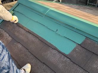 横浜市緑区白山にて、ファインパーフェクトベストでスレート屋根の塗装を行いました