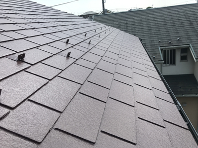 三浦市三崎町で耐用年数を長くするためフッ素塗料でスレート屋根塗装、施工後写真