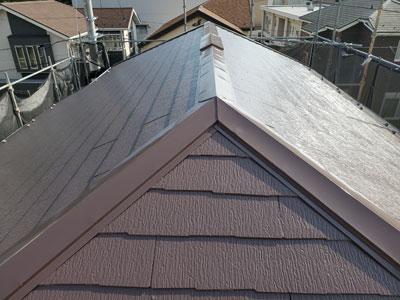 伊勢原市神戸にて残暑厳しい時期に遮熱塗料サーモアイ4Fでスレート屋根塗装、施工中に台風15号通過!、施工後写真