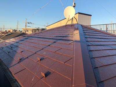 川崎市多摩区登戸にて築15年目の化粧スレート屋根、サーモアイSiにて塗装工事を行いました、施工後写真